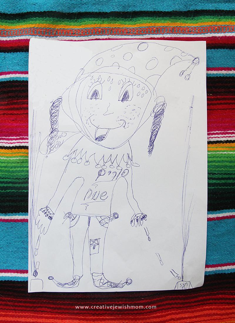 Purim Clown Drawing kids craft