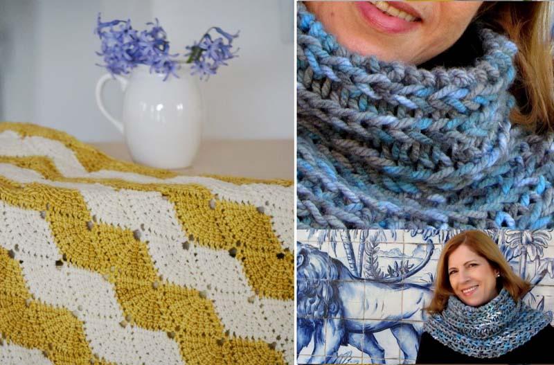 Chunky knit cowl,crocheted fam pattern blanket