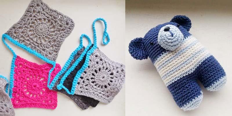 Crocheted banner,crocheted bear simple