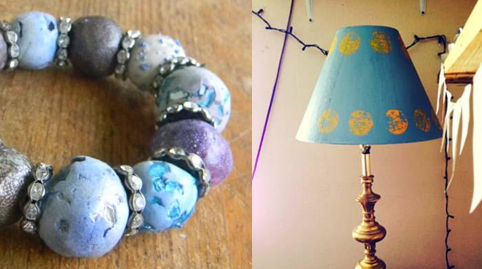Polymer bead bracelet,printed lamp shade redo
