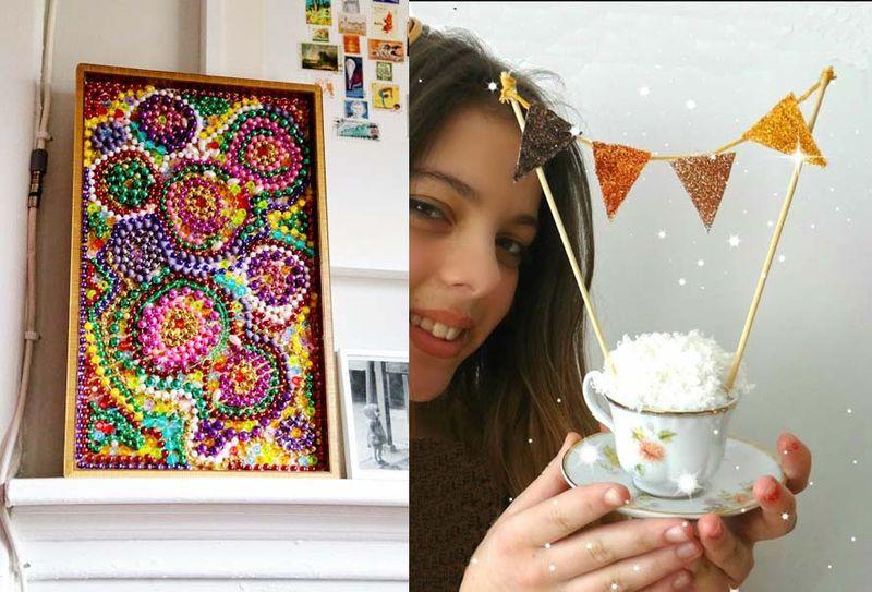 Mardi gras bead mosaic,birthday in a tea cup