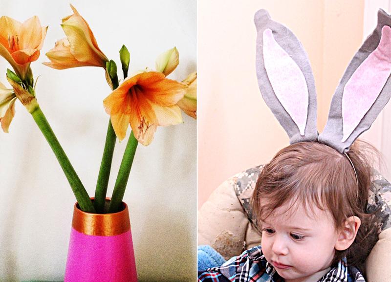 Felt bunny ears, vase re-do