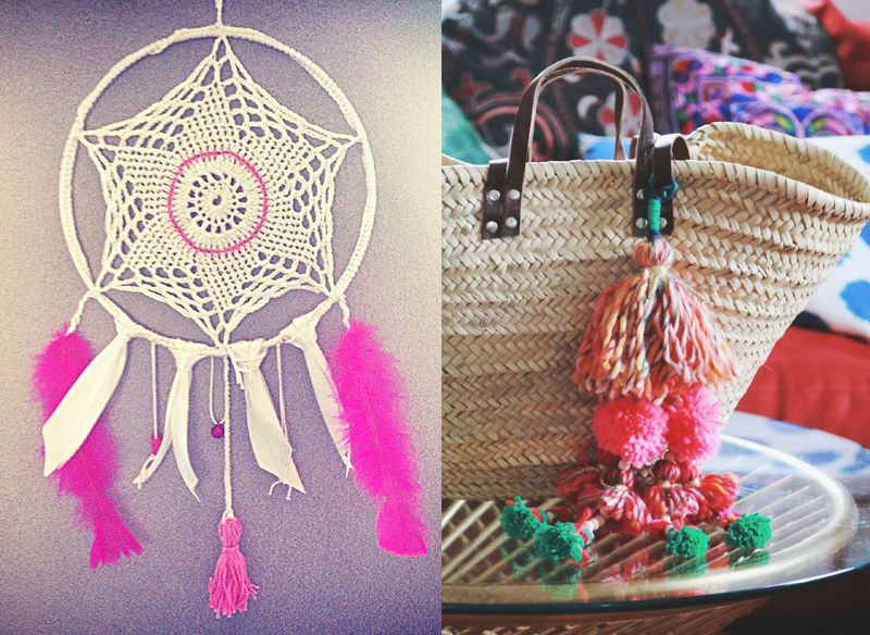 Crocheted Dream Catcher,pom pom purse charm