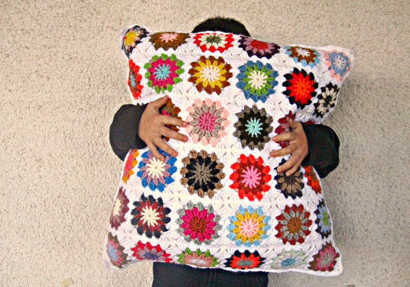 Crocheted Granny Pillow