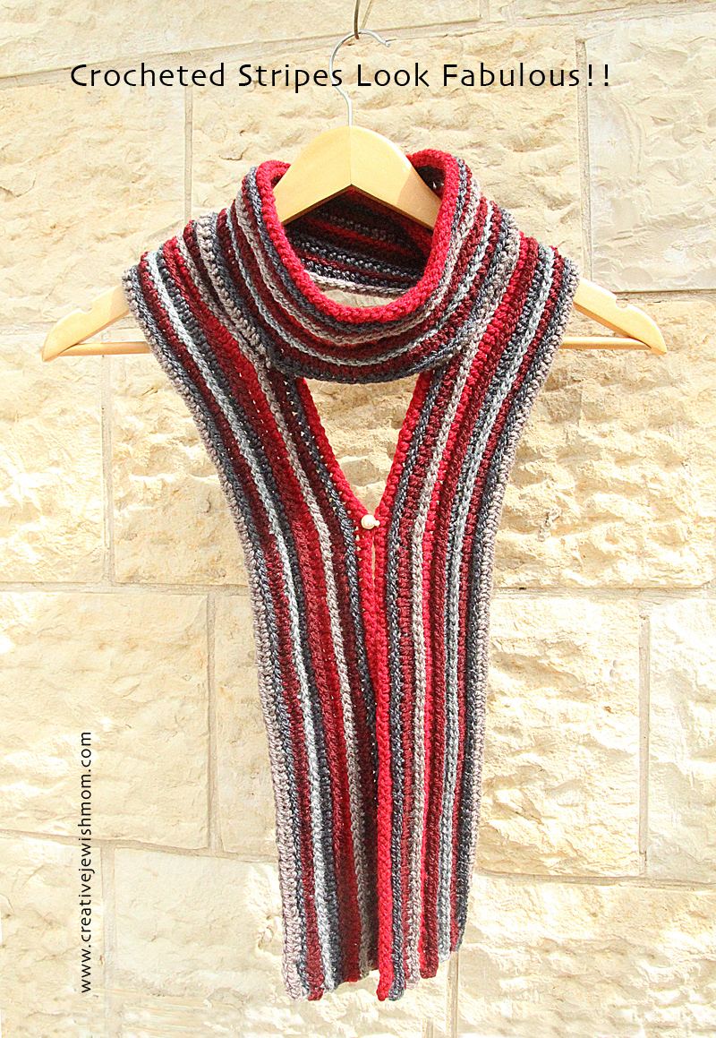 Crocheted Striped And Ribbed Scarf, A Great Transitional Piece ...