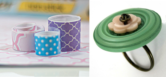 DIY washi tape, button ring DIY