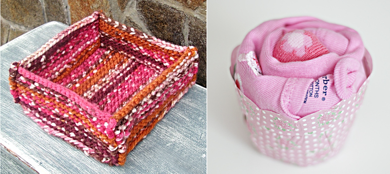 Onesie cupcake,knit storage basket
