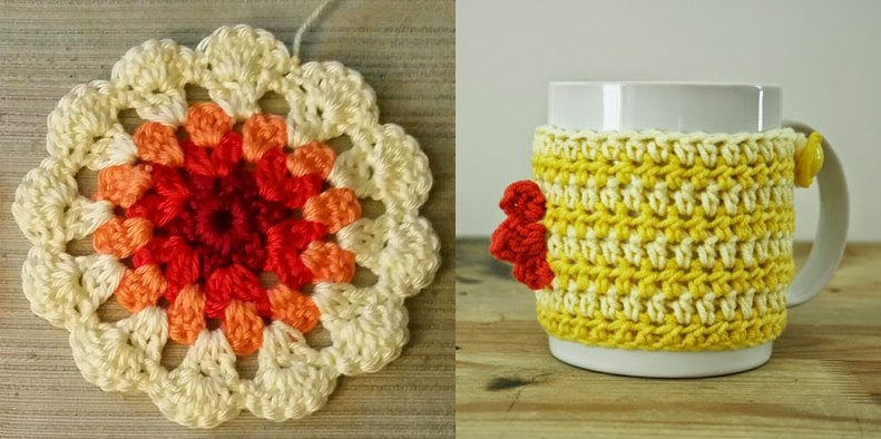 Crocheted rooster mug cozy,crocheted coaster