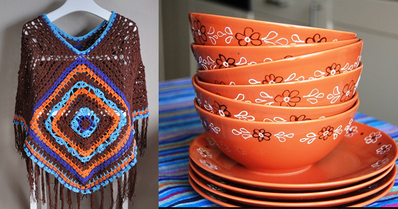 Hand painted bowls baked in oven,bohemian crocheted poncho