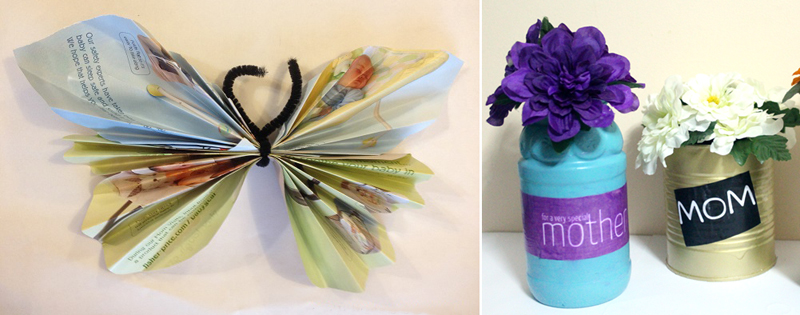 Magazine page butterfly,recycled vase craft for mother's day