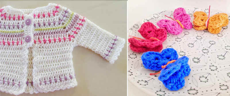 Crocheted baby sweater,crocheted butterflies