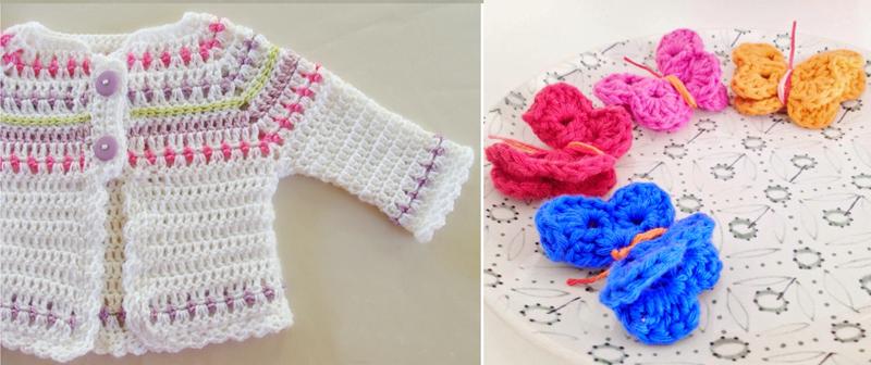 Crocheted baby sweater,crocheted butterflies