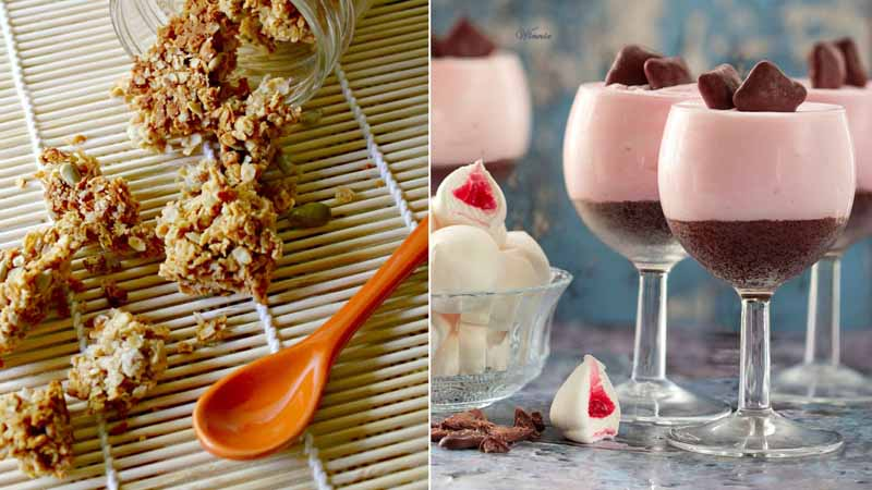 No bake cheesecake with marshmellow,coconot peanut butter granola