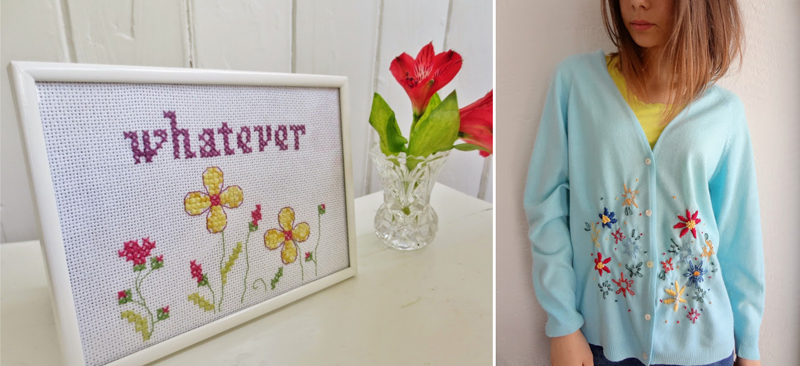 Cross stitch embroidery simple,embroidered sweater