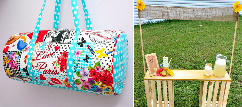 DIY lemonade stand from crates,duffle bag tutorial