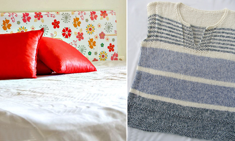 Headboard makeover with contact paper,knit summer top for women