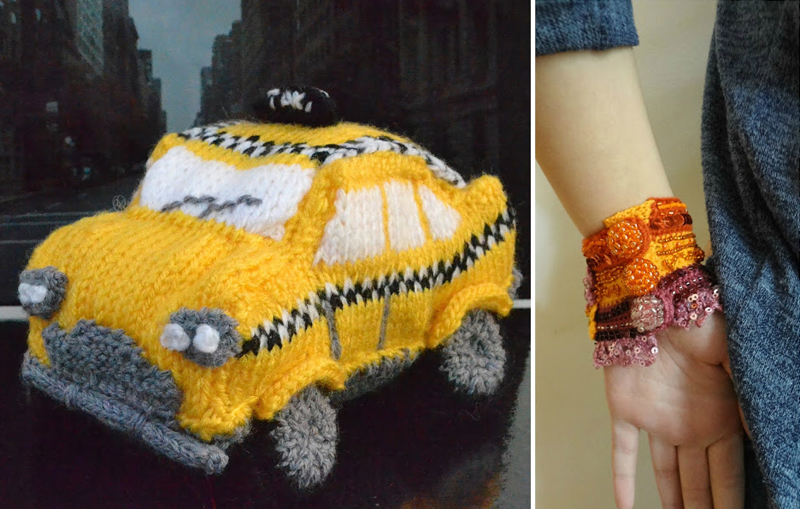 Knit yellow taxi, crocheted beaded cuff