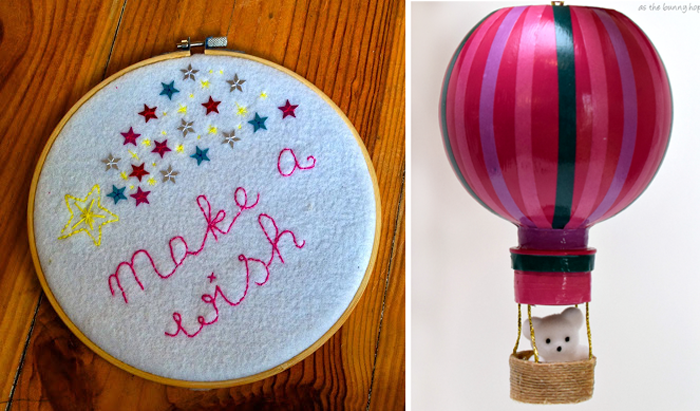 Make a wish baby embroidery,water bottle hot air balloon craft