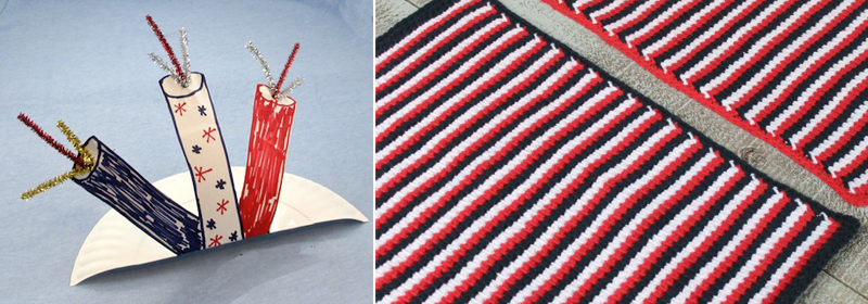Firecrackers 4th of july kids craft,tunisian crochet striped placemats