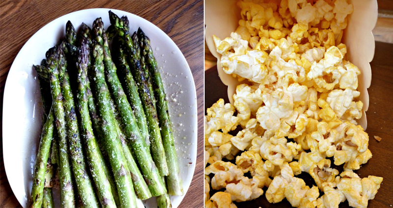 Asparagus with parmesan cheese,popcorn with parmesan