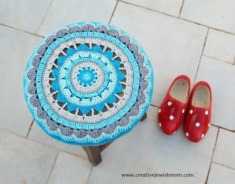 Crocheted Mandala Stool Cover Round