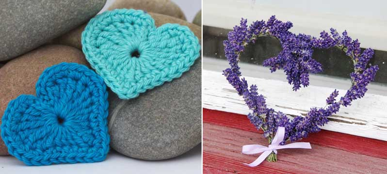 Lavender and wire heart,crocheted heart pattern