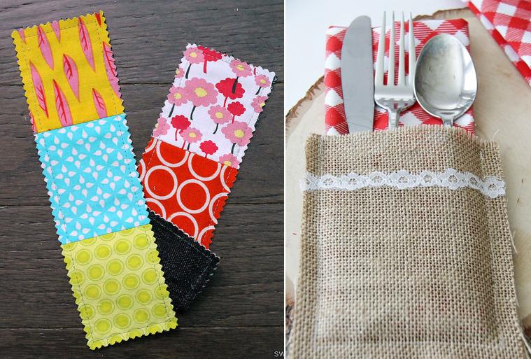 Burlap silverware pockets,patchwork bookmarks