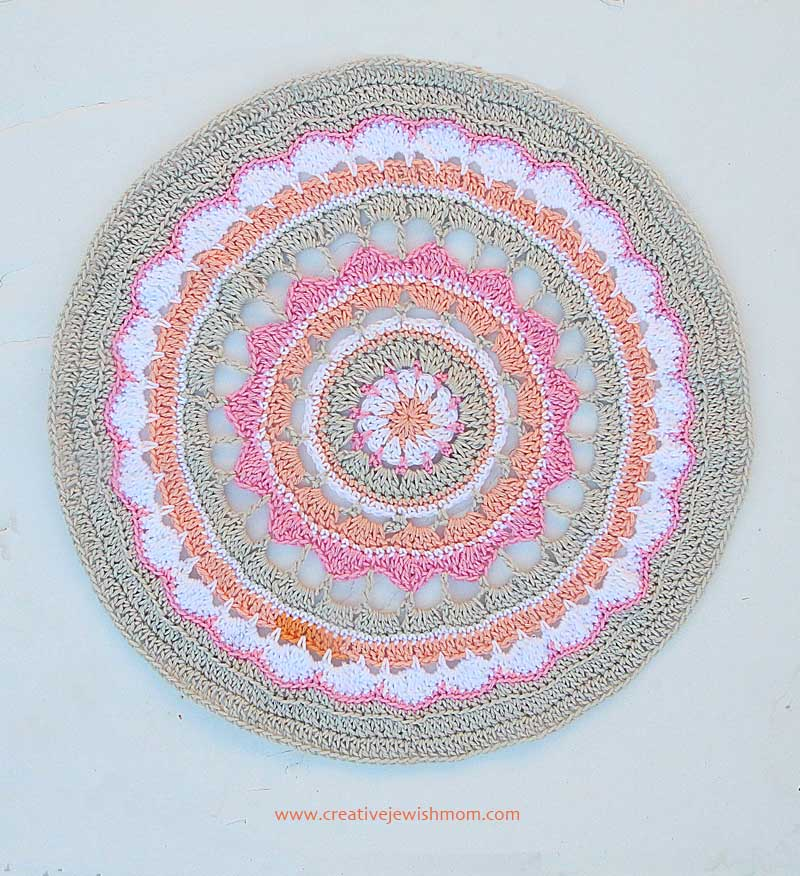 Crocheted Mandala Doily Pastel Colors