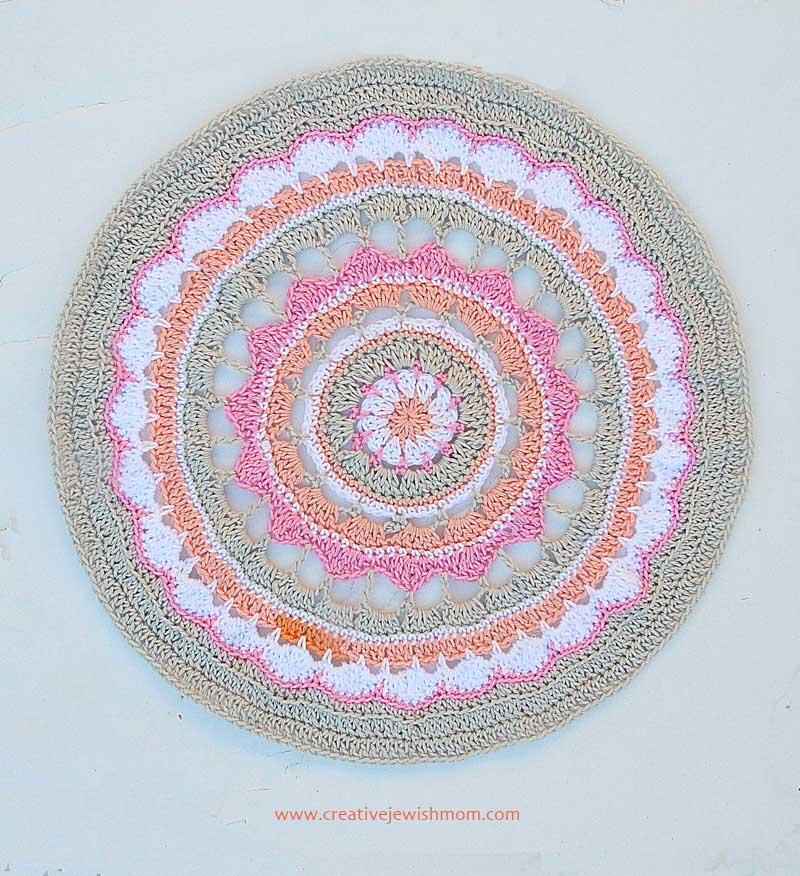 Crocheted Mandala Doily Pastel Colors
