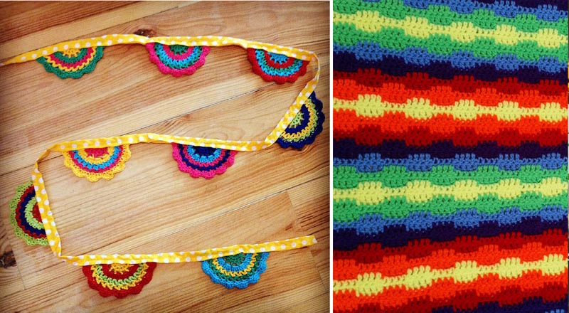 Crochet half circle crocheted garland,crocheted blanket pattern