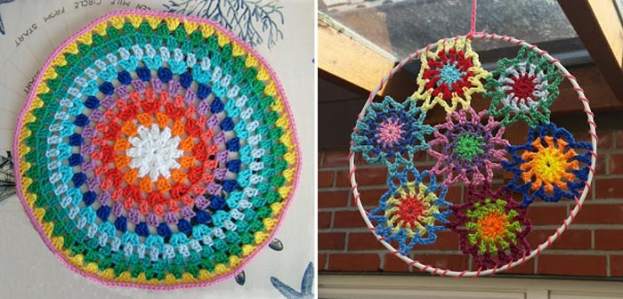 Crocheted granny mandala,
