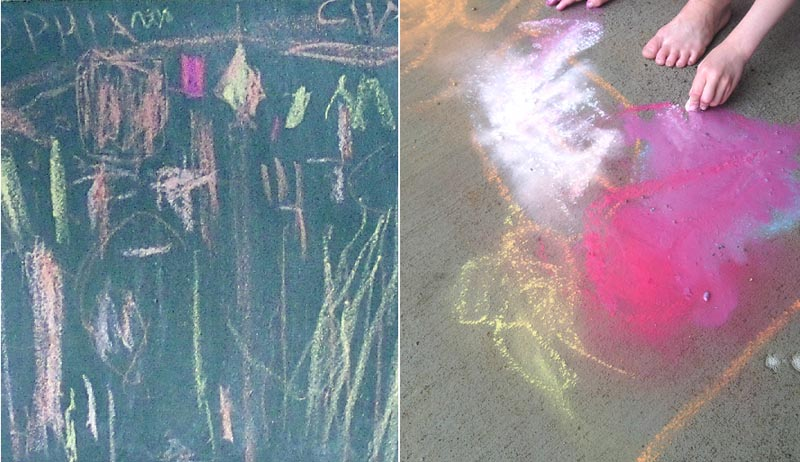 DIY chalkboard,puddle painting with chalk