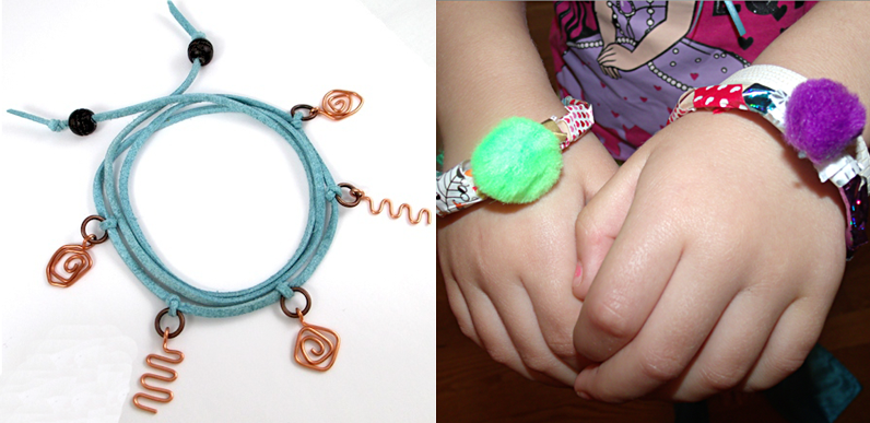 Washi tape popsiscle stick bracelet,wire charms