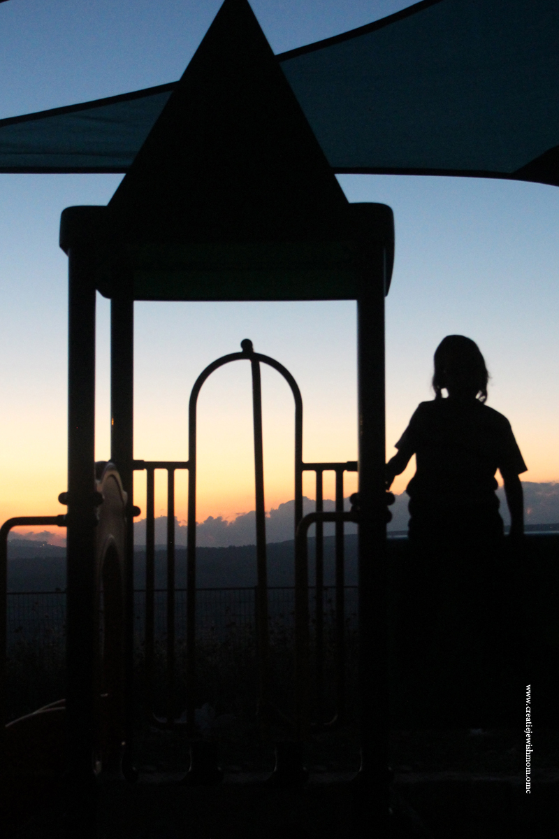 Silhouette Photos of kids in park at dusk