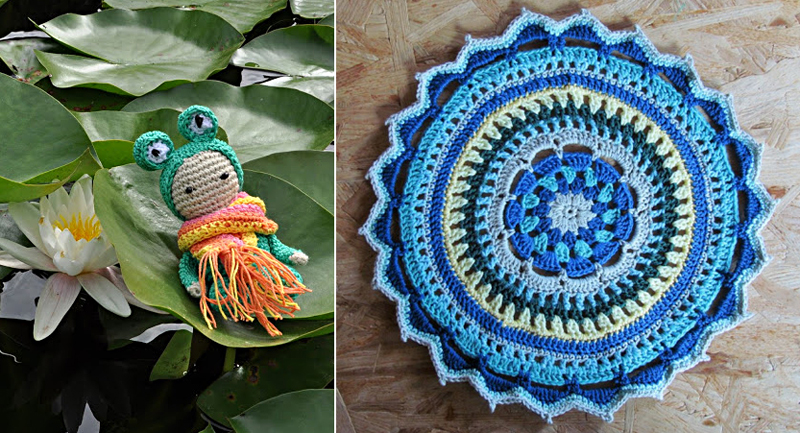 Crocheted frog,blue crocheted mandala