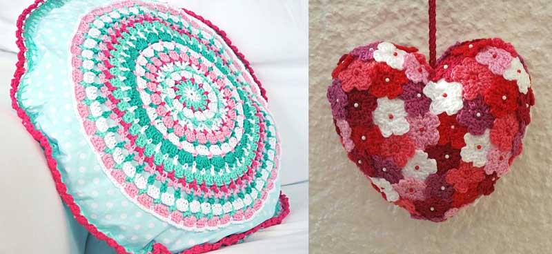 Crochet granny medallion pillow,crocheted flower covered heart