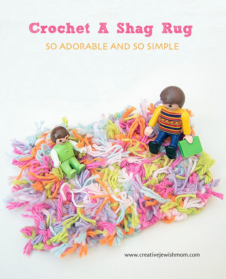 Crocheted Dollhouse Shag Rug with baby
