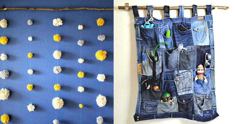 Jean Pocket Wall Hanging,Pom Pom Wall Hanging