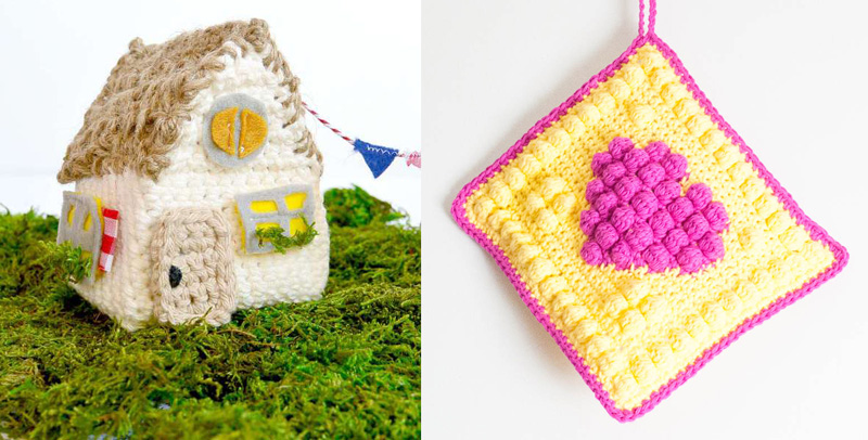 Crochet bobble heart pot holder,crocheted house
