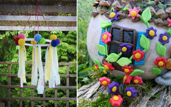 Pom pom mobile for the succah decorated gourd fairy house