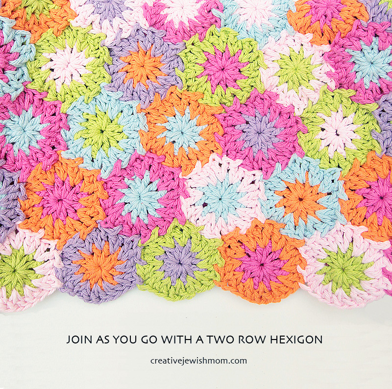 Crochet Join As You Go Two Row Hexigons