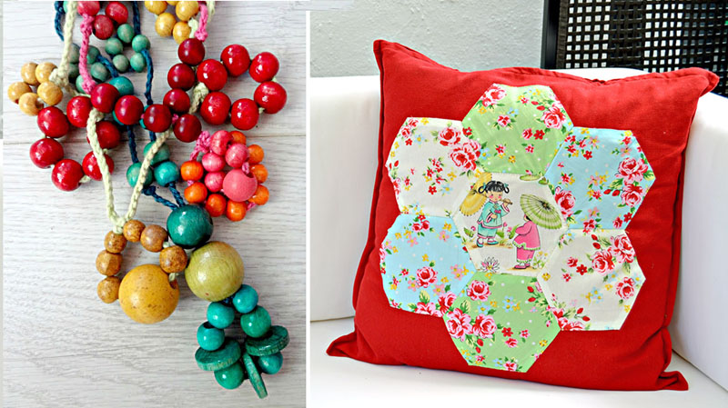 Hexigon paper pieced quilted pillow,beaded and tied wooden bead neckalce