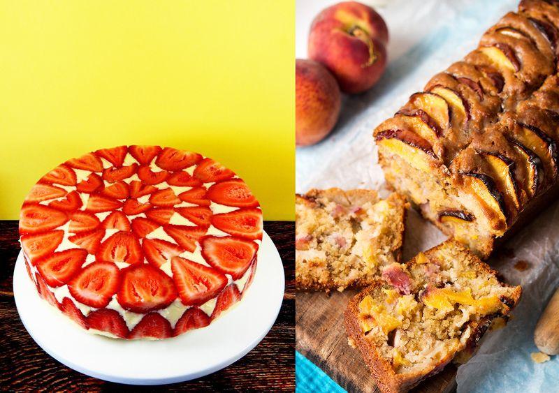 Strawberry frasier cake,fresh peach cake
