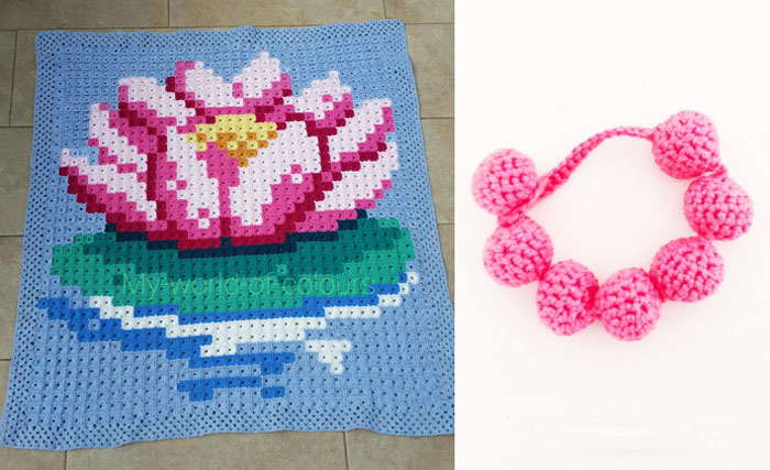 Pixilated water lily crocheted blanket,crocheted bead bracelet