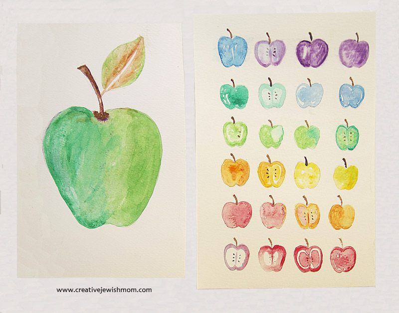Watercolor apples card for rosh hashana craft