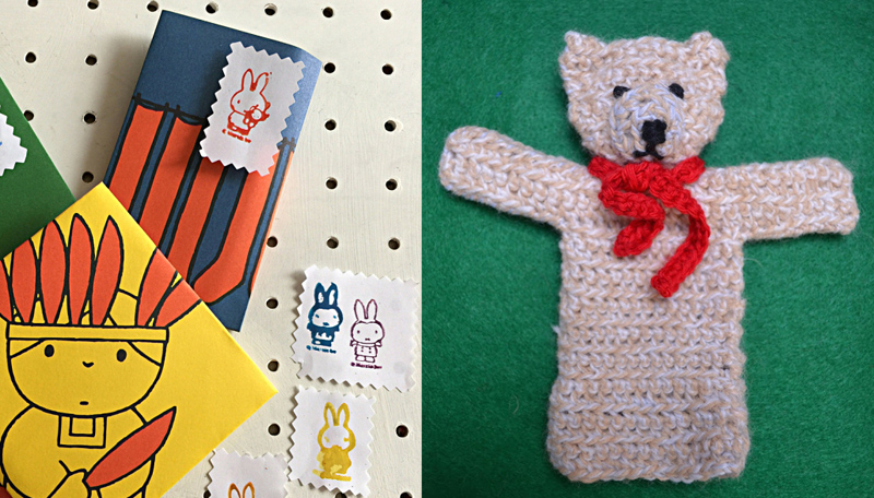 Crocheted bear puppet,water colors with stamps miffy stamps