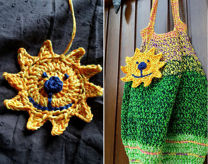 Crocheted market bag with sun