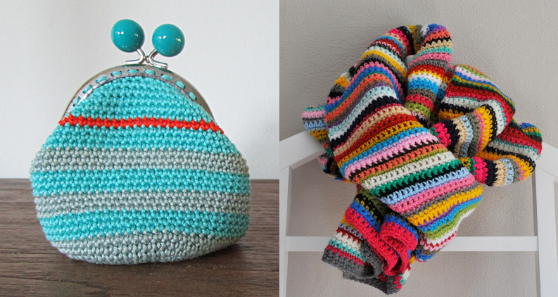 Striped crochet scarf,striped crochet coin purse