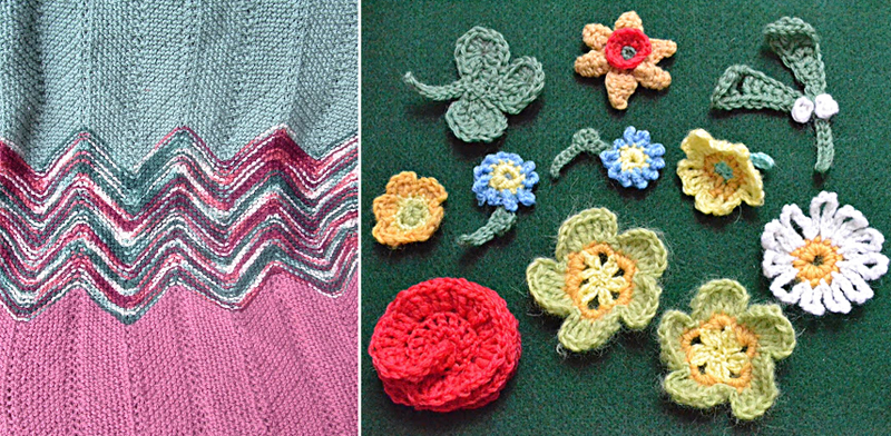 Knitted wavy blanket,crocheted flowers
