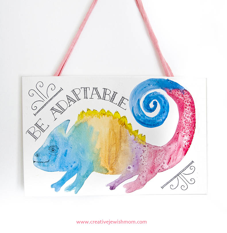 Watercolor chameleon wallhanging for child's room